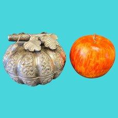 Southeast Asian 900 Silver Hand Decorated Pumpkin Betel Box