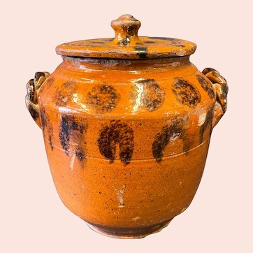 Antique Manganese Decorated Redware Lidded Sugar Bowl