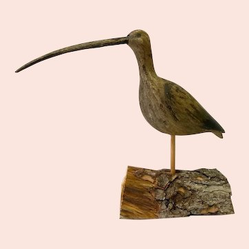 Hand Carved and Painted Folk Art Long-Billed Curlew
