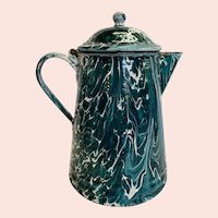 Unusual Dark Teal Green and White Marbled Graniteware Coffee Pot