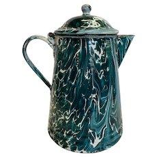 Unusual Dark Teal Green and White Marbled Graniteware Coffee Pot