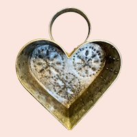 Antique Heart Shaped Tin Cheese Strainer