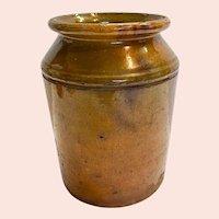 Wheel Thrown Two Tone Brown Glazed Redware Jar