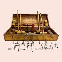 Antique Boxwood No. A Table Croquet Set with Original Wood Box