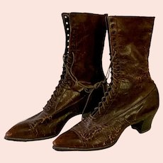 Ladies Victorian Brown Leather Lace-up High Heel Boots