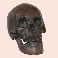Cast and Patinated Bronze Human Form Skull