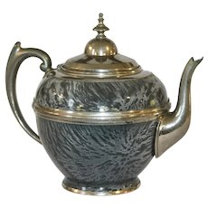 Antique Gray Mottled Enamelware\Graniteware and Pewter Teapot