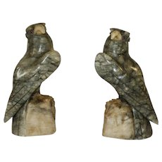Pair of Hand Carved Alabaster Hawks\Falcons