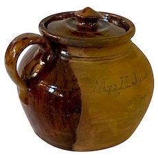Antique 1876 American Centennial Redware Bean Pot