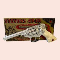 J. & E. Stevens Flash Chrome 49-ER Cap Gun With Original Box