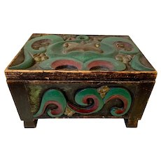 Carved and Painted Footed Box