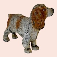 Antique Cold Painted Steel Spaniel Figure
