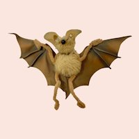 "Mid-Century Rare Small Steiff ""Eric"" The Bat Stuffed Animal"