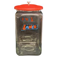 """Vintage """"From the Home of Lance"""" Lidded Countertop Display Jar"""