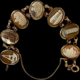 Vintage Gold Filled 7 Architectural Wonders of the World Cameo Bracelet