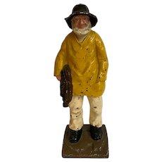 Old Salt Fisherman with Net Cast Iron Doorstop