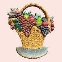 Vintage Cast Iron Fruit Basket Doorstop