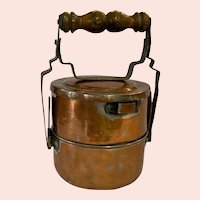 Two Tier Copper Lunch Pail or Tiffin with a Turned Wooden Handle
