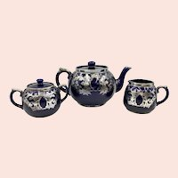 Art Nouveau English Cobalt Blue Silver Overlay Tea Set