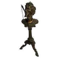 Antique Devil Cigar Lighter on a Three Legged Pedestal