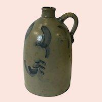 Antique Salt Glazed Cobalt Decorated Stoneware Jug