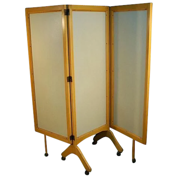 Mid Century Modern Rolling Folding Screen Room Divider Colin Reed Art Antiques Ruby Lane