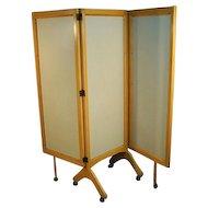 Mid-century Modern Rolling Folding Screen Room Divider