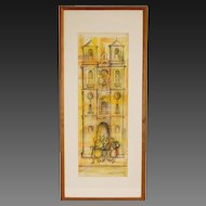 Mid-century Architectural Watercolor painting w Pen and Ink Building with Belfry