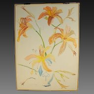 Large Lilies in Arts & Crafts Vase Watercolor Stanley Reginald Wilson British
