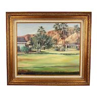 Impressionist Dessert Landscape Pool Side Resort Signed Tomito