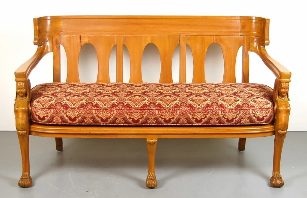 Amazing Vintage Empire Egyptian Revival Settee Bench. Click To Expand