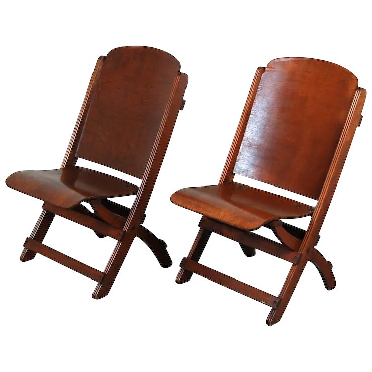 Nice Pair Vintage Wooden Folding Chairs Theater Seats - Nice Pair Vintage Wooden Folding Chairs Theater Seats : Colin Reed