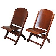 Nice Pair Vintage Wooden Folding Chairs Theater Seats