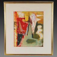 Mid-century Modern Abstract Gouache Painting Ghostly Figure Banish