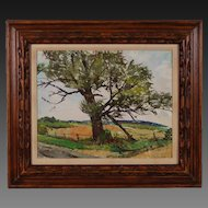 "Circa 1950's Oil Painting ""Old Landmark"" near Algonquin Illinois by Sanders"