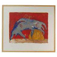 Modern Abstract Creature Resting Head on Rock L/E Lithograph Signed Illegibly
