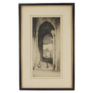 Early 20th C. Orientalist Etching Moorish Portal A. F. Affleck British