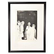 1970's  L/E Lithograph Women on Street signed Jean Jansem Armenian