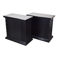Pair Rectangular Neoclassical Fluted Black Pedestals or Sculpture Stands