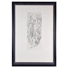 Mid-Century Etching Abstracted Naked Men in Ascent signed Pierre Zucchelli