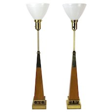 Vintage Pair Mid-Century Modern Tommi Parzinger Obelisk Lamps