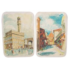 Pair Mid-Century Italian Pottery Hand-Painted Wall Plaques Street Scene Painting