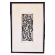 """The Combat"" Robert Browning Reed Abstracted Woodcut Print Indiana artist"