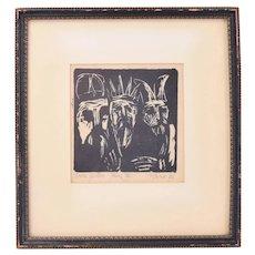 """Three Actors"" Robert Browning Reed Abstracted Woodcut Print Indiana artist"