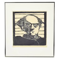 "1971 Woodblock Print Abstracted Portrait ""Professor L. Z. Breen"" sgnd Martha Breen"