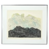 """""""Black Mountain"""" Abstract Color Lithograph Artist's Proof signed Millie Breen"""