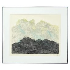 """Black Mountain"" Abstract Color Lithograph Artist's Proof signed Millie Breen"