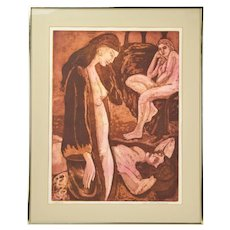 1970's Group Nude Women Color Lithograph Regina Kirschner-Rosenzweig San Francisco