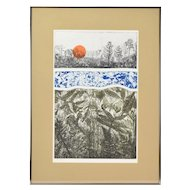 """""""Genesis"""" Limited Edition Color Lithograph Flora & Insects signed Mildred Breen"""