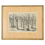 """Forest"" 1962 Black & White Etching Abstracted Trees by Breen"